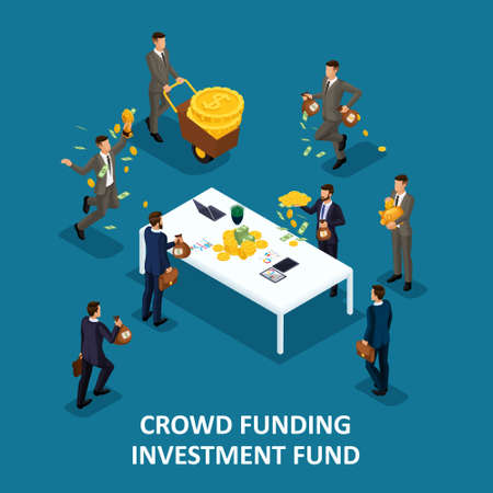 Isometric people persona, 3d businessmen, investing crowd financing, Collaboration, kraudinvesting, collection of money in a financing fund for posting to a startup.