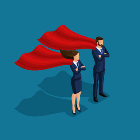 Persone isometriche persona affari, affari sotto protezione, uomo d'affari e donna d'affari con mantelli isolati su sfondo blu.