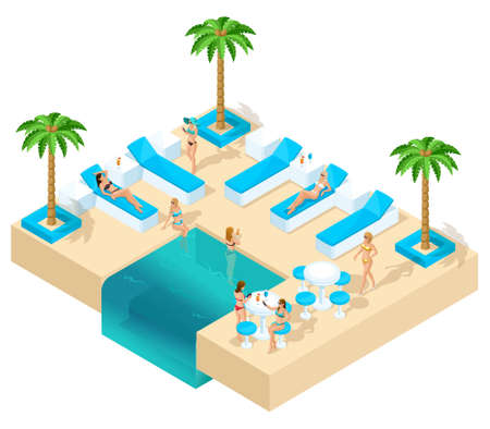 Isometry of the girl on vacation, women 3D, hen party in the resort beautiful hotel rest in the lounge area. Palms, sand, water, basin beautiful genres, alcohol on a white background Vettoriali