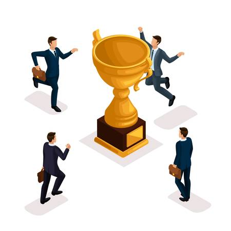Trendy isometric people, 3d businessmen, movement running, fast step, rush prize cup, get trophy, young entrepreneurs with briefcase isolated on white background.