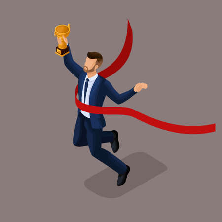Trendy isometric people, 3d businessman receiving a cup, reaching a goal, young businessman award isolated on dark background.