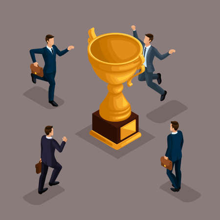 Trendy isometric people, 3d businessmen, movement running, fast step, rush prize cup, get trophy, young entrepreneurs with briefcase isolated on a dark background. Vettoriali