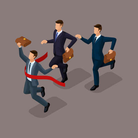 Trendy isometric people, 3d businessmen, running, competition, being first, getting a prize, young entrepreneurs with a briefcase isolated on a dark background.