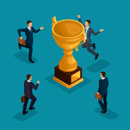 Trendy isometric people, 3d businessmen, movement running, fast step, rush prize cup, get trophy, young entrepreneurs with briefcase isolated on a blue background.