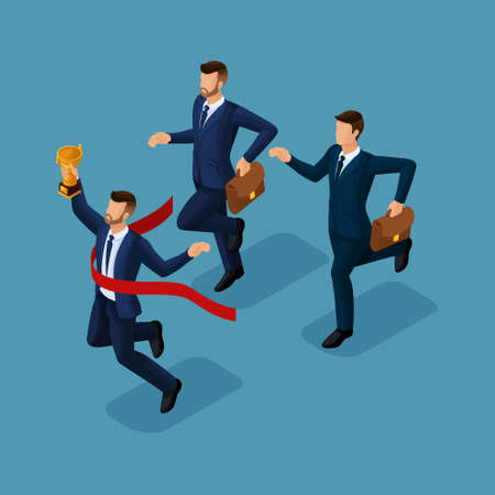 Trendy isometric people, 3d businessmen running, success, getting cup, reaching goal, young businessman isolated on blue background. Illusztráció