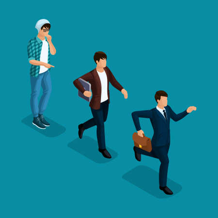 Trendy isometric people, 3d businessman, development start-up, creative freelancer, team of professionals, business creation, career growth, business concept on bright blue background.
