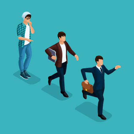 Trendy isometric people, 3d businessman, development start-up, creative freelancer, team of professionals, business creation, career growth, business concept on blue background.