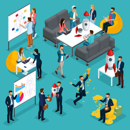 Trendy isometric people, 3d businessman, development start-up, business creation, brainstorming, investment, business concept on blue background. Ilustrace
