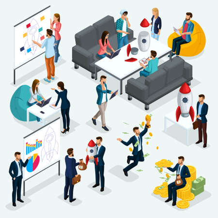 Trendy isometric people, 3d businessman, concept with young people, development of start-up, team of specialists, students, business creation, brainstorming, business concepts isolated.