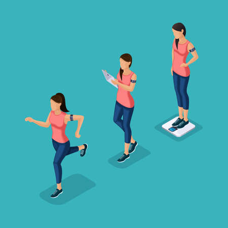 Trendy Isometric people, 3d athlete, young girl, healthy lifestyle, fitness, sport running jogging isolated on blue background.