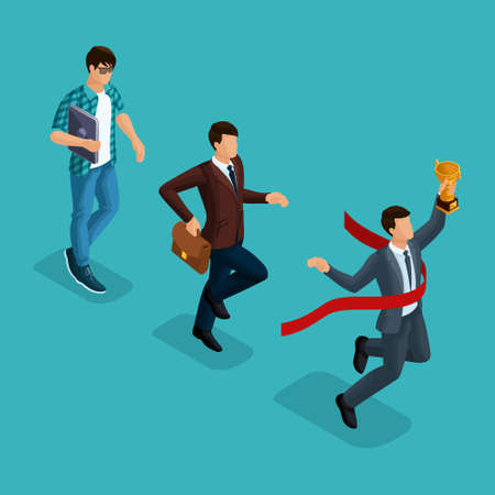 Trendy isometric people, 3d businessman, development start-up, creative young businessman, freelancer, start-up process, career growth, business concept on blue background.