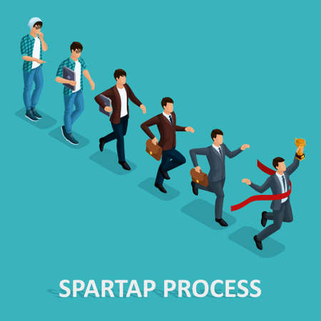Trendy Isometric people, 3d businessman, development start-up, creative freelancer, start-up process, career growth, business concept on blue background.