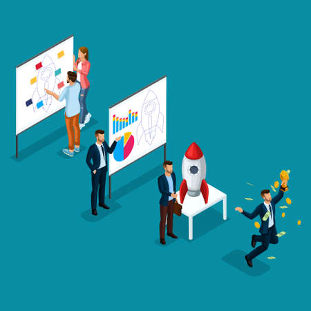 Trendy Isometric people, 3d businessman, development of start-up, path to success, creative young people, team of professionals, business creation, rocket on bright blue. Illustration