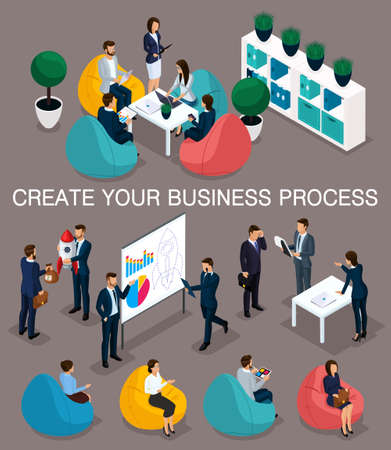 Trendy isometric people, 3d businessman, concept with young people, young team of professionals, business creation, brainstorming, soft armchairs, business concept on a dark.