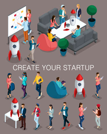 Trendy isometric people, 3d businessman, concept with young people, young team of specialists, creating startup, brainstorming strategy development on a dark.