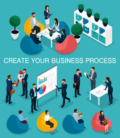 Trendy isometric people, 3d businessman, concept with young people, young team of professionals, business creation, brainstorming, soft armchairs, business concep. Illusztráció