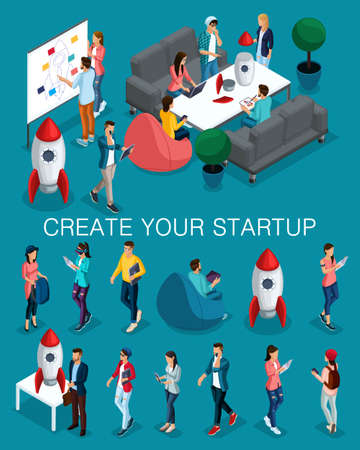 Trendy isometric people, 3d businessman, concept with young people, young team of specialists, creating startup, brainstorming strategy development on bright blue.