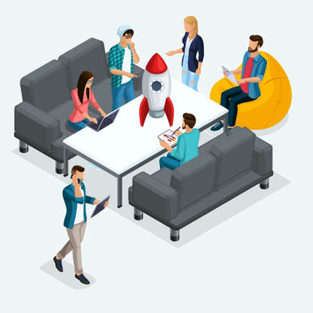Trendy Isometric people, 3d businessman, development of start-up, creative young people, freelancers, team of professionals, business creation, brainstorming on light.