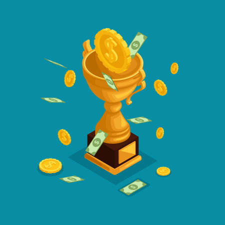 Trendy isometric objects, 3d cup, award, money prize, money fall from the sky, gold coins, cash dollars, lots of money is isolated on a blue background.