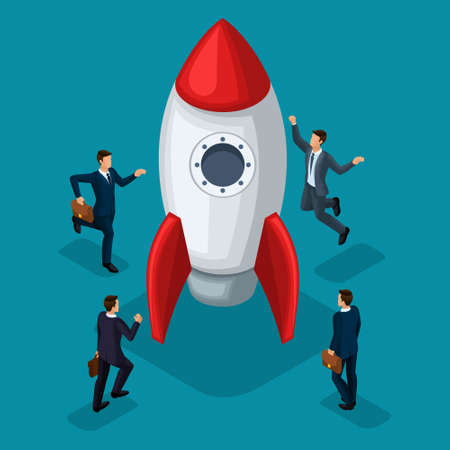 Trendy isometric objects, 3d rocket, businessmen creation of start-up, joy of success, concept with young businessman, new business plan project business people isolated on blue background.