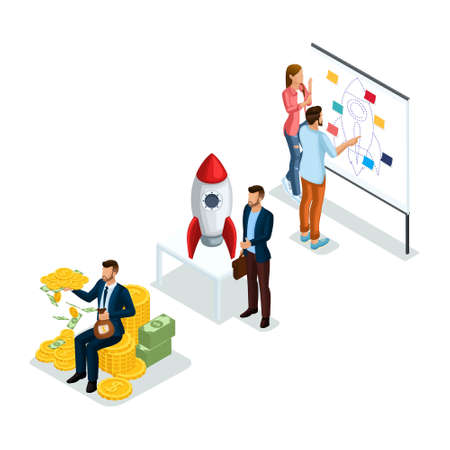 Trendy Isometric Objects, 3d icon Young Entrepreneurs, new business startup project for investors to evaluate in search of investment isolated on white background.