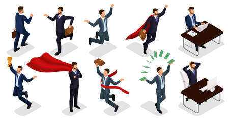 Isometric people, 3d Young entrepreneurs, different scenes concepts working in the office, superman, money, cup, joy of victory isolated on a light background.