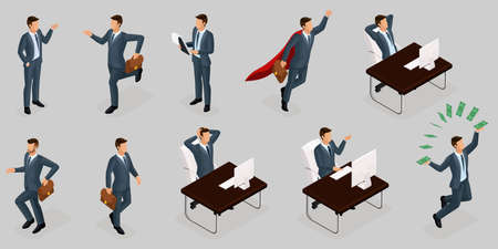 Isometric people, 3d entrepreneurs, different concept scenes, emotions and gestures businessman, superman, management and production isolated gray background.