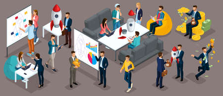 Isometric people, entrepreneurs present a new startup project business plan, development of investment search. New projects isolated dark background Illustration