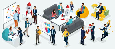 Isometric people, entrepreneurs present a new startup project business plan, development of investment search. New projects isolated on a light background.