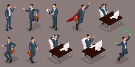 Isometric people, 3d entrepreneurs, different concept scenes, emotions and gestures businessman, superman, management and production isolated dark background. Illustration
