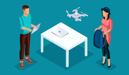 Trendy Isometric people and gadgets, teenagers, young people, students, using hi tech technology, games, entertainment, smart phone, navigator, play drone quadrocopter, pad control isolated.