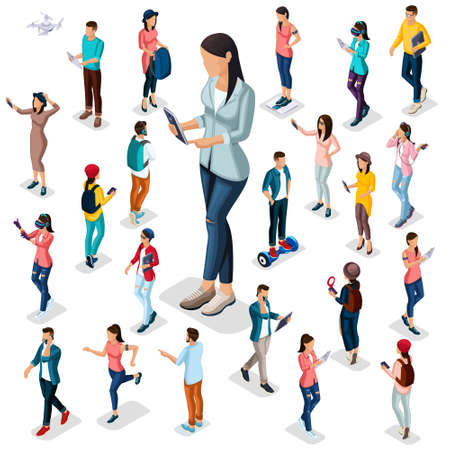 Trendy Isometric people and gadgets, 3D teenagers, students, large group of people, using hi tech technology, the girl with the protagonist phones isolated. Illustration