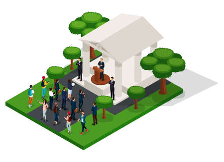 Trendy People Isometric vector 3D businessmen, people of the presidential election, Washington's Birthday, elections, voting, speech at trebune, meeting in the park, municipal building.