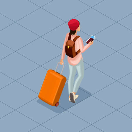 Trendy People Isometric vector 3D teenager, a young girl in a comfortable and stylish clothes, student, freelancer, traveler, vacation, airport, baggage, phone internet social networks. Illustration