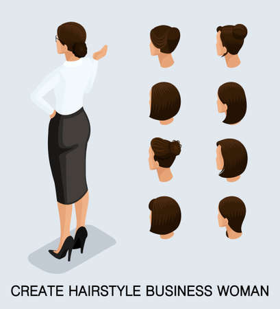 Set 6 Fashion isometric 3D business lady, a set of women's haircuts, styling, hair, hair color. Rear view isolated on a light background. Vector illustration.