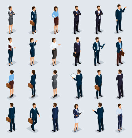 Isometric People Isometric businessmen, businessman and business woman, people in business suits during work, front view rear view isolated on a light background. Vector illustration.