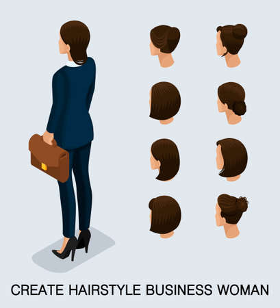 Set 3 Fashion isometric 3D business lady, a set of women's haircuts, styling, hair, hair color. Rear view isolated on a light background. Vector illustration.