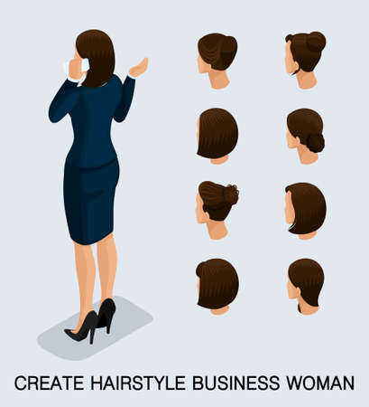 Set 5 Fashion isometric 3D business lady, a set of womens haircuts, styling, hair, hair color. Rear view isolated on a light background. Vector illustration.