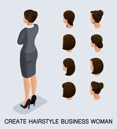 Set 2 Fashion isometric 3D business lady, a set of women's haircuts, styling, hair, hair color. Rear view isolated on a light background. Vector illustration.
