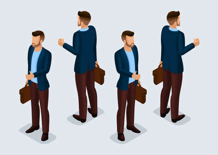Trend Isometric People Set 5, 3D businessmen in business suits, people gestures, front view and rear view isolated on a light background. Vector illustration. Ilustração