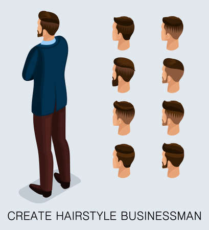 Set 2 Trendy isometric 3D businessman, a set of men's haircuts, styling, style, hipster, beard, mustache. Rear view isolated on a light background. Vector illustration.