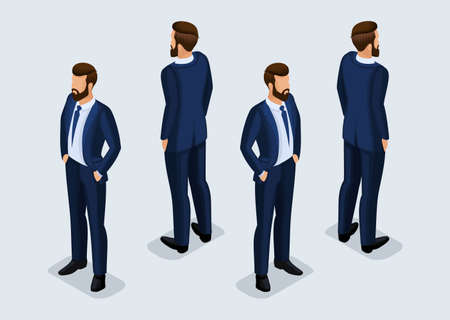 Trend Isometric People Set 4, 3D businessmen in business suits, people gestures, front view and rear view isolated on a light background. Vector illustration. Illusztráció
