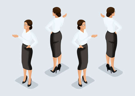 Trend Isometric People Set 1, 3D business woman in business suits, peoples gestures, a front view and rear view isolated on a light background. Vector illustration.