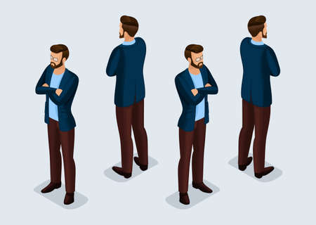 Trend Isometric People Set 8, 3D businessmen in business suits, people gestures, front view and rear view isolated on a light background. Vector illustration.