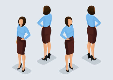 Trend Isometric People Set 6, 3D business woman in business suits, people's gestures, a front view and rear view isolated on a light background. Vector illustration.