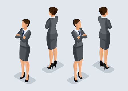 Trend Isometric People Set 5, 3D business woman in business suits, people's gestures, a front view and rear view isolated on a light background. Vector illustration.
