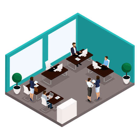 Trend isometric people, a room, an office Rear view of a large office room, work, office workers, businessmen and business woman in suits isolated on a light background. Vector illustrations.