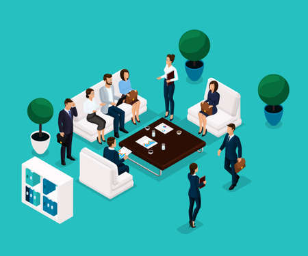 Trend isometric people, a room discussing a front view, business concept, discussion, brainstorming, businessmen in suits stylish hairstyle insulated. Imagens - 116799622