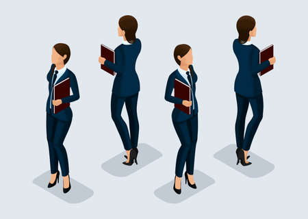 Trend Isometric People Set 8, 3D business woman in business suits, people's gestures, a front view and rear view isolated on a light background. Vector illustration.