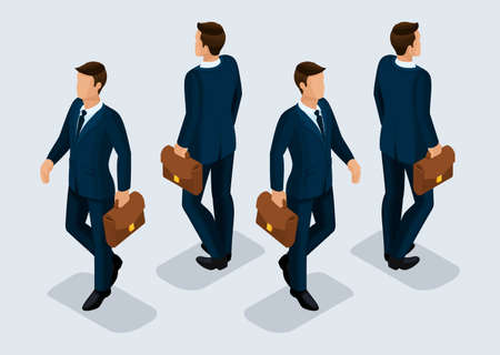 Trend Isometric People Set 10, 3D businessmen in business suits, people gestures, front view and rear view isolated on a light background. Vector illustration.